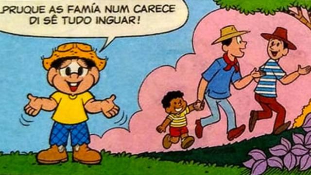 Sodoma moderna quer suas crianças: Quadrinhos do Chico Bento exibe gays com criança e diz que é