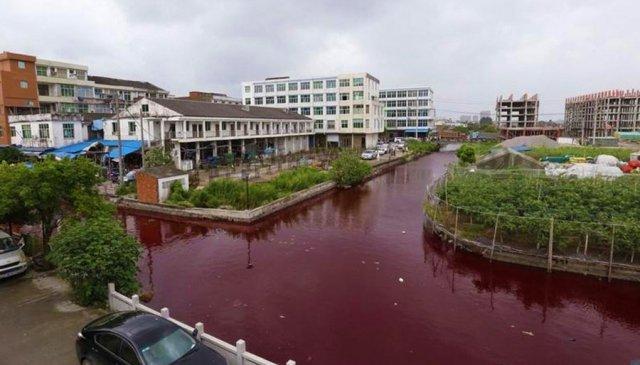 Fim dos Tempos: Rio na China amanhece vermelho como sangue misteriosamente, povo está perplexo
